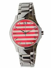 NEW WOMENS ARMANI EXCHANGE A|X (AX5232) SILVER PINK WHITE STRIPED DIAL WATCH