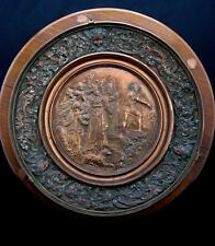 """C19th Relief Copper Plaque on Wooden Mount signed  King, Jester characters 12"""""""