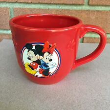 Disney Mickey and Minnie Mouse Red Coffee Mug Cup For Hallmark Raised Highlights