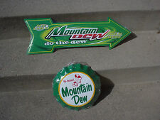 LOT OF 2 MOUNTAIN DEW ADVERTISMENT METAL TIN SIGNS MTN. DEW BOTTLE CAP