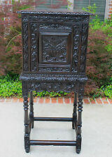 Antique English Renaissance Dark Oak Carved Vestry Cabinet Wine/Liquor Bar