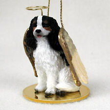 Cavalier King Charles Dog Figurine Angel Statue Hand Painted Black