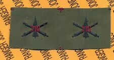 US Army 216th Air Defense Artillery ADA Branch OD Green & Black sew on patch set