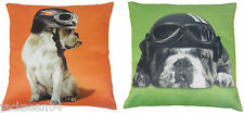 "2 X CUTE BRITISH BULLDOG BRIGHT LIME GREEN ORANGE CUSHION COVERS 16"" - 40 X 40CM"