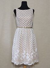 NWT&D ELIZA J LACE MIDI DRESS 6 MODCLOTH BROADCASTING BELLE WHITE SCALLOPED HEM