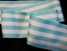 "2-1/2"" SOFT & SILKY GROSGRAIN STRIPE RIBBON - AQUA WHITE - MILLINERY OR ?"