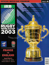 ENGLAND v FRANCE 2003 RUGBY WORLD CUP SEMI-FINAL PROGRAMME
