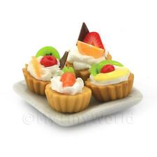 Dolls House Miniature 4 Mixed Fruit Tarts On A Ceramic Plate