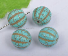 10pcs blue Turquoise carved pumpkin round Spacer beads 10mmX12mm DIY Findings
