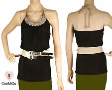 ConMiGo 2436 Black Beadwork Jersey Top With Belt