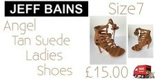 Angel Tan Suede Ladies Heeled Shoes Size7 Jeff Bains