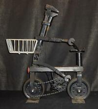 Folky Rat Rod Sculpture of an Iron Tool Figure Riding a Bike Cool!