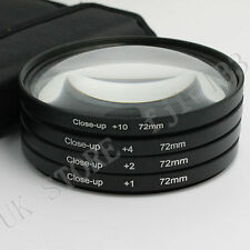72mm Macro Close Up +1 +2 +4 +10 Lens Filter Set Fit For Nikon Canon Clean Cloth