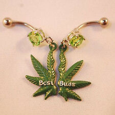 Belly ring pot marijuana leaf navel green weed CZ best buds budz set pair