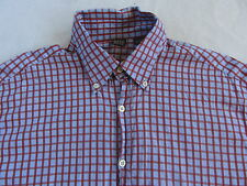 Saks Fifth Avenue Men's L/S Button Down Blue & Red Checkered Dress Shirt - Large