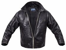 Jack & Jones Leather Jacket Men's lederjacke Black / Brown XL Coat VINTAGE BIKER