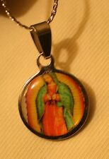 Lovely Small Round Stainless Steel Colorful Our Lady of Guadalupe Medal Necklace