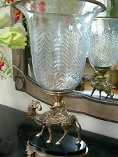 Maitland Smith Cast Brass Hurricane Camel Motif Candle Holder