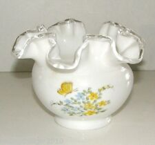 "Silver Crest rose bowl - ""Butterflies"" - 7254-BY - signed by decorator"