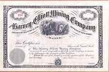 Harvey-Elliott Mining Co.1880's stock certificate - silver mine- Hancock, Maine
