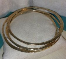 Set Lot 3 Veronese 18k Yellow Gold Sterling silver Bangle bracelet hammered flat