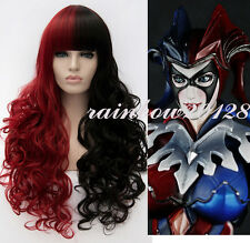 Harley Quinn Wavy Curly Long Black Red  Mixed Anime Cosplay Wig