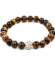 Stretch Amber Fireball Crystal Stud Glass Bead Bracelet 8 mm Fashion Jewelry