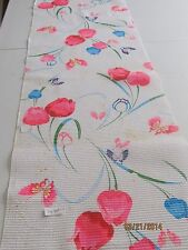 Vintage Japanese Cotton Kimono Fabric, White Crinkle w/Tulips and Butterflies