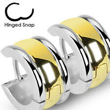 1x Stainless Steel Hinged Wide Hoop Earring with Gold Plate Center