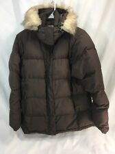 LL Bean Goose Down Parka Jacket Puffer Faux Fur Trim Hood Coat Womens Large EUC