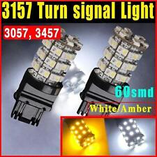 2 PIECES 3157 Switchback White/Amber SMD 60 LED Turn Signal Corner Light Bulbs