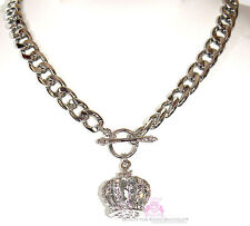 Beauty for Ashes Royal King Queen Crown Crystal Chunky Ring & Toggle Necklace S