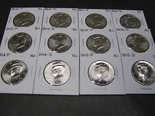2010 2011 2012 2013 2014 2015 P & D  KENNEDY HALFS (12 Coins) from Mint Rolls