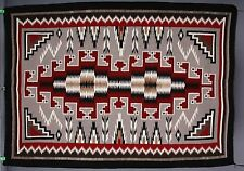 Vintage Navajo rug blanket Native American large textile fine tight weaving reds