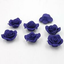 10pcs Blue Rose Flower FIMO Polymer Clay Charms Spacer Beads Jewelry Findings D