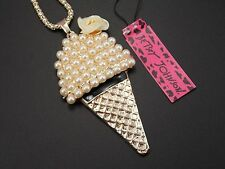 Betsey Johnson fashion jewelry pearl ice cream pendant necklace # A122