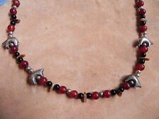 "Carnelian, Onyx, Shell beads & Sterling Silver BEARS Necklace 17"" Navajo"