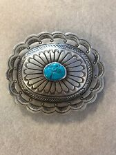 Vintage Signed Carson B. Blackgoat Sterling Silver Turquoise Concho Belt Buckle