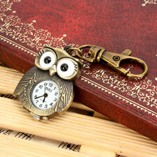 Cute  Antique Bronze Tiny Owl Pocket Quartz Key Chain Ring Kids Pendant Watch