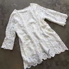 New ANTHROPOLOGIE Deletta White Eyelet Lace Detail Boho Tunic Top Mini Dress - M