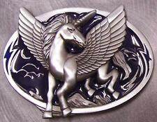 Pewter Belt Buckle animal Mythical Pegasus Horse NEW