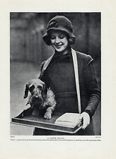 WIRE HAIRED DACHSHUND AND YOUNG LADY OLD ORIGINAL DOG PRINT PAGE FROM 1934