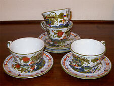 (4) CUP & SAUCER BLUE CARNATION, Hand Painted in Italy GAROFANO FAENZA