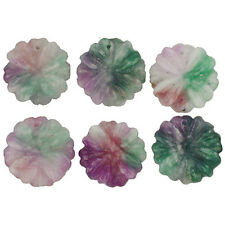 20MM CANDY JADE PURPLE GREEN WHITE ROUND FLOWER  pk/2