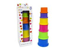 FIRST STEPS 6 BRIGHT COLOURED STACK UP CUPS GIFT PRESENT 6 MONTHS +