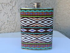 8 oz Stainless Steel Tribal Design Flask Alcohol Whisky Container Great Colors