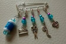 5 Handmade Beaded Crochet Knitting Stitch Markers with Row Counter On a Kilt Pin