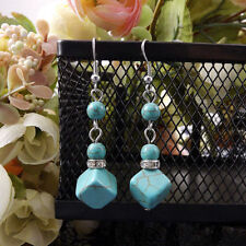 Contemporary New Tibetan Silver Turquoise Bead & Cube Dangle Drop Earrings