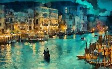4488 venice canal art lights italy night Poster Print On Canvas 24x38 Inches