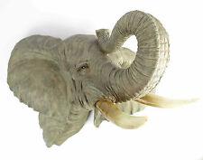 Elefantenkopf Wanddeko 3D Wanddeko Elephant Figur Kolonialstil Elefenbein